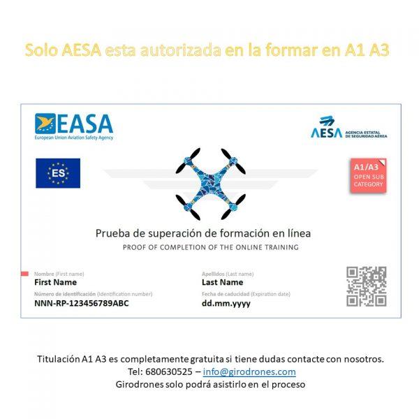 A1 A3 certificado AESA Ejemplo Girodrones gratis