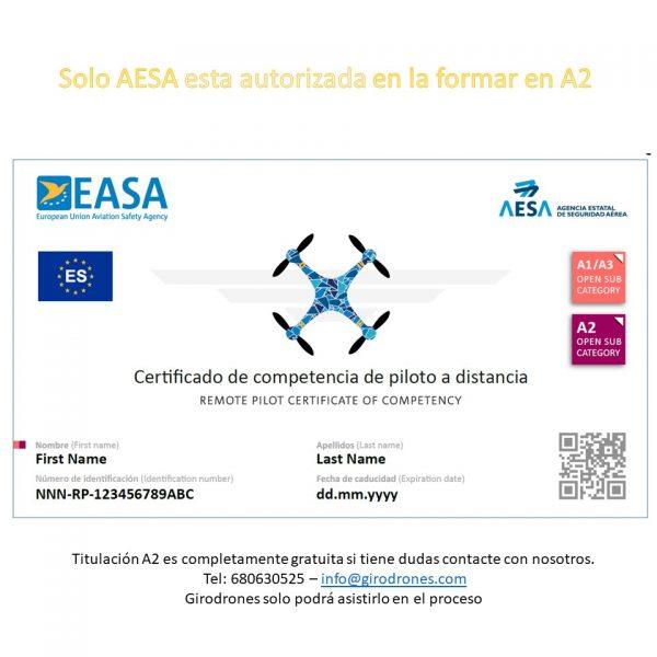 A2 certificado AESA Ejemplo Girodrones gratis